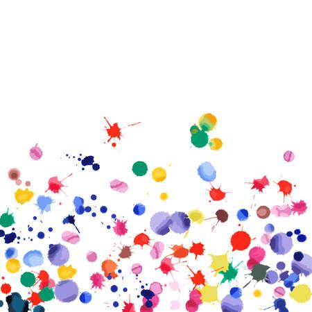 Ilustración de Watercolor confetti on white background. Rainbow colored blobs square gradient. Colorful bright hand painted illustration. Happy celebration party background. Unusual vector illustration. - Imagen libre de derechos