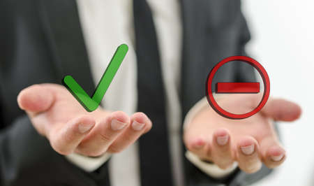 Photo for Closeup of businessman making decision whether to accept or deny a suggestion or employee  - Royalty Free Image