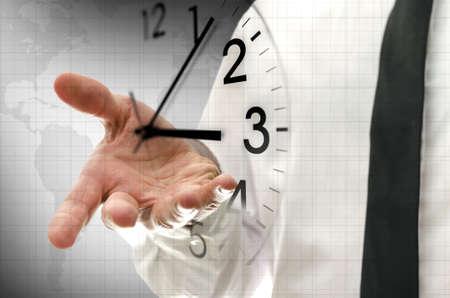 Photo pour Businessman navigating virtual clock in interface. Concept of time management. - image libre de droit