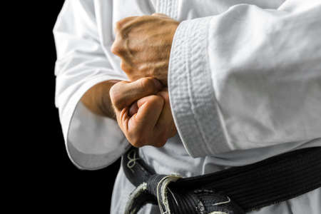 Photo for Closeup of male karate fighter hands. - Royalty Free Image