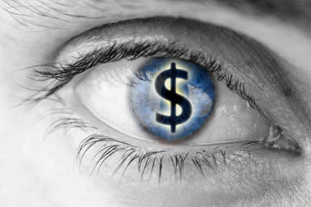 Photo for Dollar sign in human pupil  Greed concept  - Royalty Free Image