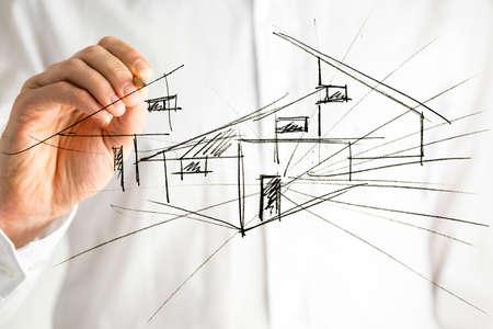 Photo pour Architect drawing architectural house plan on virtual screen. - image libre de droit