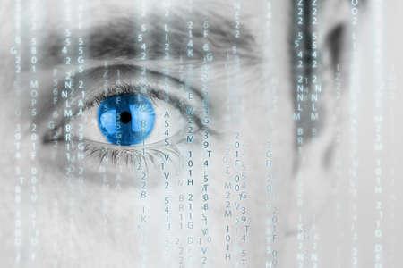 Photo pour Futuristic image with human eye with blue iris and matrix texture. - image libre de droit