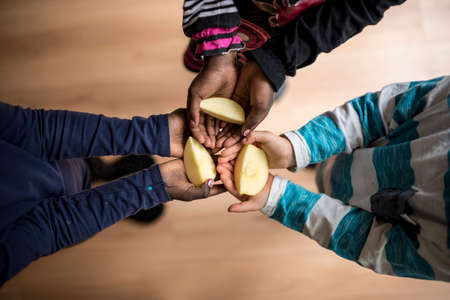 Foto de Top view of three kids of mixed races each holding a piece of apple in the palms of their hands. - Imagen libre de derechos