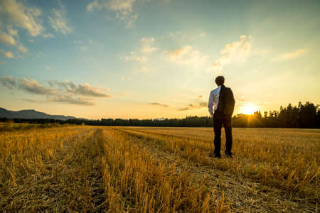 Photo pour Businessman in elegant suit with his jacket hanging over his shoulder standing in mown wheat field looking into the distance under a majestic evening sky with a setting sun. - image libre de droit