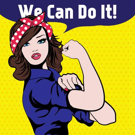Ilustración de Woman with we can do it speech bubble - Imagen libre de derechos