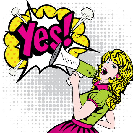 Illustration pour Pop Art Woman with Megaphone saying Yes! - image libre de droit