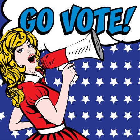 Illustration pour Pop art woman with megaphone and go vote typography - image libre de droit