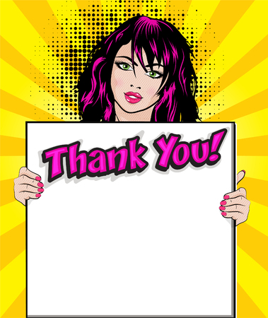 Ilustración de Pop art woman with thank you signboard - Imagen libre de derechos