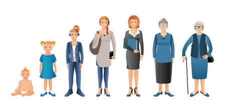 Generation of woman from infants to seniors. Baby, child, teenager, student, business woman, adult and senior woman. Realistic images isolated on white background.