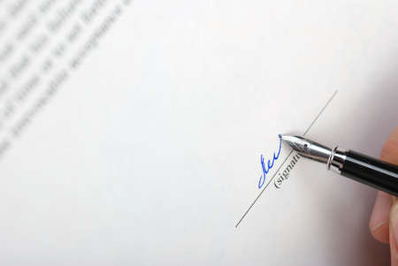 The signature. Acknowledgement of the document by means of the unique signature by means of pen