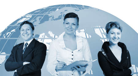 Business people. Group of people and the earth globe on a background.