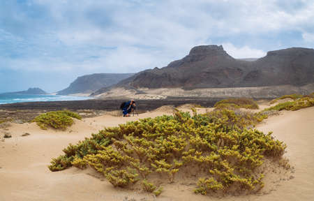 Photo for Freedom, space, solitude and lonely bay on the eastern coastline of Sao Vicente Island Cape Verde - Royalty Free Image