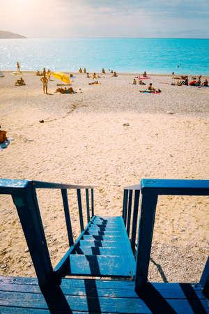 Foto de Beach panorama from the lifeguard rescue tower. Summertime summer holiday on mediterrean sea - Imagen libre de derechos