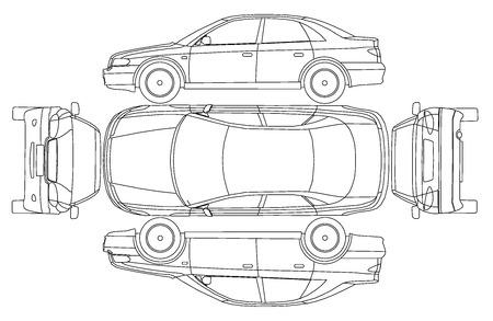 Ilustración de Car line crash isurance protocol - Imagen libre de derechos