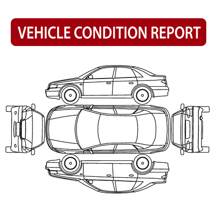 Photo pour Vehicle condition report car checklist, auto damage inspection - image libre de droit