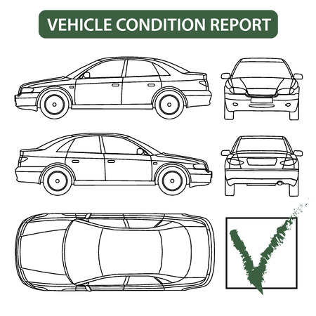 Illustration pour Vehicle condition report car checklist, auto damage inspection vector - image libre de droit