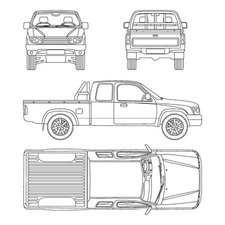 Ilustración de Pickup truck illustration blueprint - Imagen libre de derechos