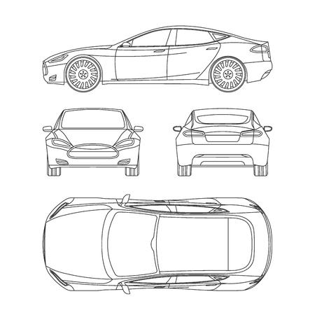 Ilustración de Car line draw insurance, rent damage, condition report form blueprint - Imagen libre de derechos