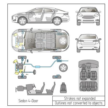 Illustration pour car sedan parts seats drawing outline strokes not expanded - image libre de droit