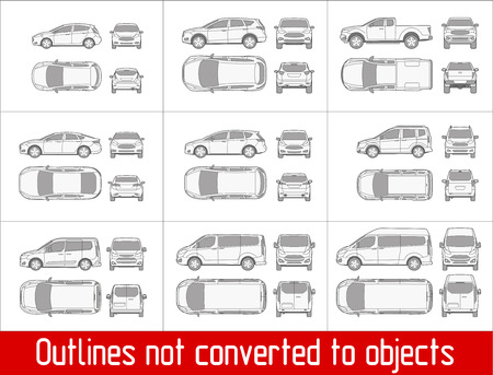 Photo pour Car sedan and suv drawing outline strokes not expanded - image libre de droit