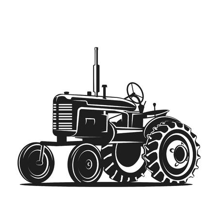 Illustration pour black old tractor silhouette on white background - image libre de droit