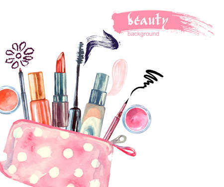 Illustration pour Watercolor cosmetics pattern. with cosmetic bag and make up artist objects: lipstick, eye shadows, eyeliner, concealer, nail polish. Vector illustration. - image libre de droit