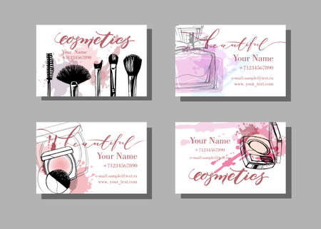 Illustration pour Makeup artist business card. Vector template with makeup items pattern . Fashion and beauty background. Template Vector. - image libre de droit