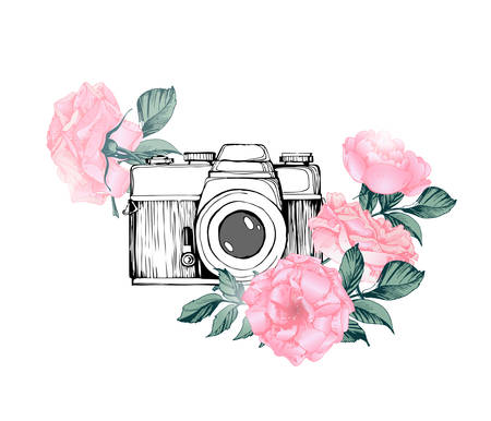 Illustration pour Vintage retro photo camera in flowers, leaves, branches on white background. Hand drawn Vector illustration, - image libre de droit