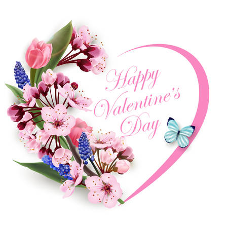 Illustration for Greeting card happy Valentines day with a wreath of delicate flowers pink Magnolia with blue butterfly. Template for birthday cards, mothers day card, spring background, banner, invitations. Vector. - Royalty Free Image
