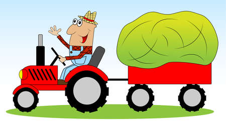 Illustration pour the man is a farmer on a tractor driven hay for animals,vector illustration - image libre de droit