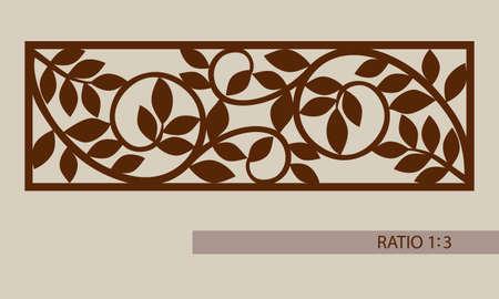 Ilustración de Floral ornament. The template pattern for decorative panel. A picture suitable for printing, engraving, laser cutting paper, wood, metal, stencil manufacturing. Vector. Easy to edit - Imagen libre de derechos
