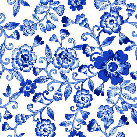 Ilustración de Vector floral watercolor texture pattern with blue flowers.Watercolor floral pattern.Blue flowers pattern.Seamless pattern can be used for wallpaper,pattern fills,web page background,surface textures - Imagen libre de derechos