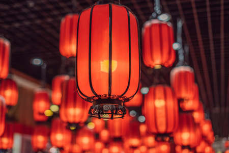 Foto de Chinese red lanterns for chinese new year. Chinese lanterns during new year festival. - Imagen libre de derechos