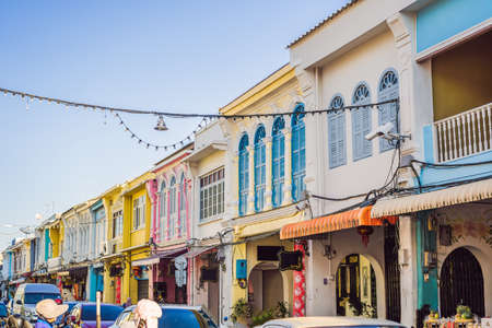 Photo pour Street in the Portugese style Romani in Phuket Town. Also called Chinatown or the old town - image libre de droit