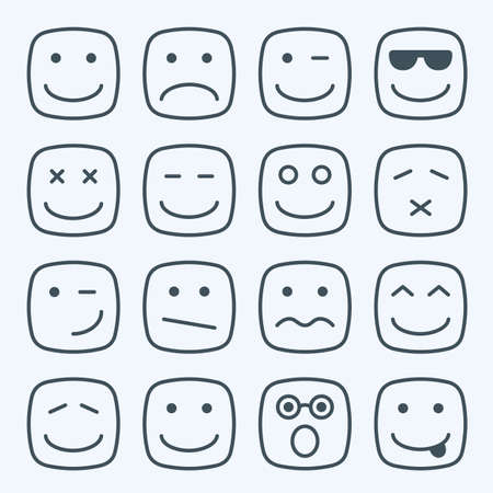 Illustrazione per Thin line emotional square yellow faces icon set - Immagini Royalty Free