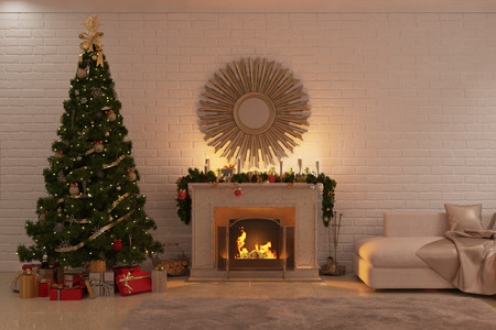 Photo for 3d illustration of Christmas livingroom with fireplace, tree and presents - Royalty Free Image