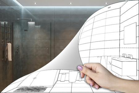 Foto de 3d illustration. A shower room renovation concept - Imagen libre de derechos