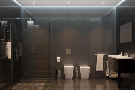 Photo pour 3d illustration. Black modern shower room - image libre de droit