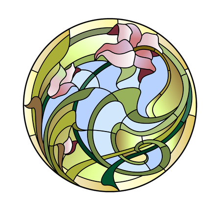 Illustration for Stained glass ceiling lamp with floral pattern. - Royalty Free Image