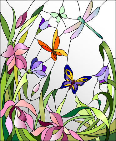 Illustration pour Stained glass window with flowers and butterflies - image libre de droit