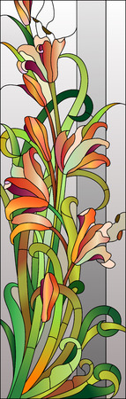 Illustration for Stained glass floral pattern with red flowers - Royalty Free Image