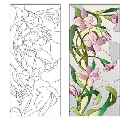 Illustration pour Stained glass window with purple floral pattern - image libre de droit