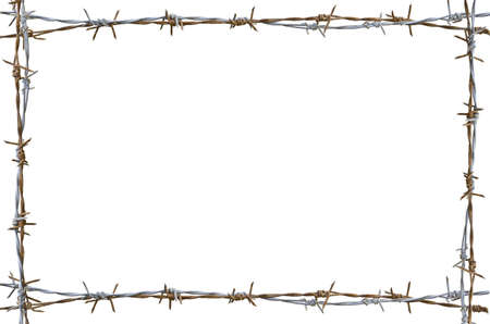 Foto de Frame Rusty barbed wire isolated on white - Imagen libre de derechos