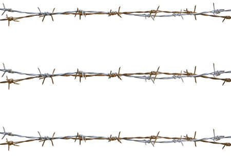Photo pour Rusty barbed wire isolated on white - image libre de droit