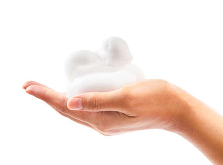 Foto de close up foam in hand isolated on white background, Save clipping path. - Imagen libre de derechos