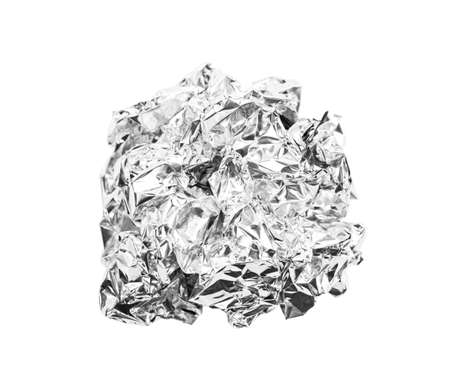 Photo for crumpled ball of aluminum foil isolated on white background, Save clipping path. - Royalty Free Image