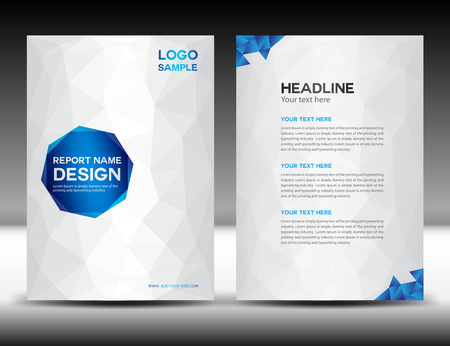 Illustration pour White Cover Annual report template,polygon background,brochure design,cover template,flyer design,portfolio,yellow background, info-graphics,Front page and back page - image libre de droit