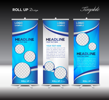 Illustration pour and blue Roll Up Banner template illustration,polygon background,banner design,standy template,roll up display,advertisement,Roll up banner stand design,blue background - image libre de droit