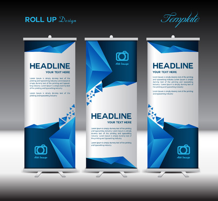Illustration pour Blue Roll Up Banner template vector illustration,banner design, polygon background,standy template,roll up display - image libre de droit